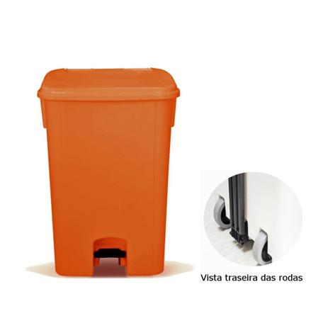 Imagem de Coletor de lixo 100L c/ pedal e Rodas, CP11LJ Laranja - Bralimpia