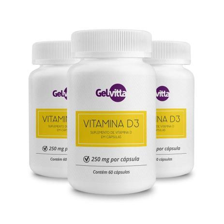 18320cb4f Combo 03 potes Vitamina D3 Suplemento 180 Cápsulas Gelvitta ...
