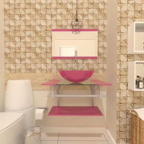 Imagem de Combo 2 em 1 gabinete de vidro 60cm ac com cuba redonda + torneira algarve - rosa