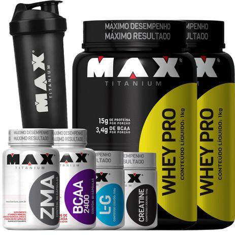 462c01540 Combo 2 Whey Protein + Creatina + Glutamina + Bcaa + Zma Coq - Max titanium