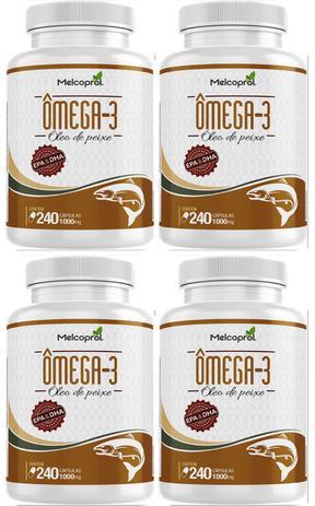 7de16a156 Combo 4un omega 3 - puro óleo de peixe 240caps 1000mg melcoprol ...