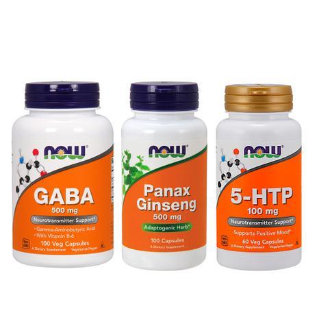 1d77f6dc1 Combo 5-HTP 100mg 60cp + GABA 500mg 100 Cp + PANAX 100 Cp NF - Now foods