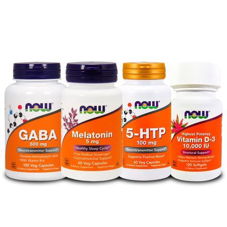 e8bd2ac63 Combo 5-HTP + Gaba + Melatönïnä 5mg + VIT D3 Now Foods - Vitaminas ...