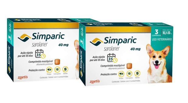 Imagem de Combo Anti Pulgas Simparic 40 Mg 10, A 20 Kg 6 Comprimidos