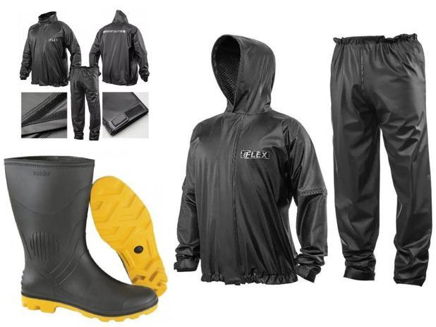 Imagem de Combo Capa Roupa Chuva Vestimenta Vestuário Jaqueta Calça Delta Pvc Preta Moto Com CAPUZ + Bota Solado Amarelo Vonder