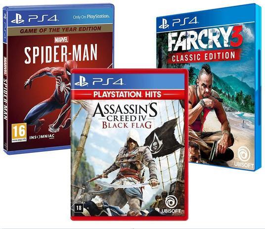 Imagem de Combo de Jogos PS4 - Assassin's Creed IV Black Flag + Marvel's Spider Man GOTY + Far Cry 3