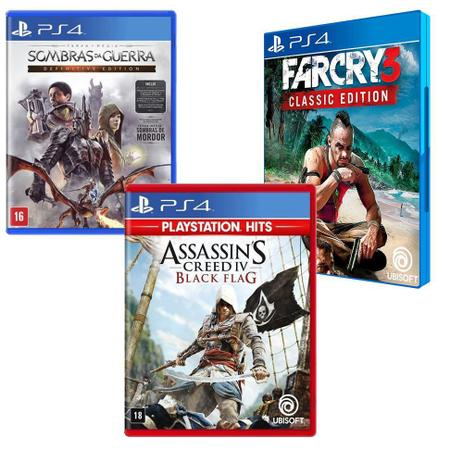 Imagem de Combo de Jogos PS4 - Assassin's Creed IV Black Flag + Terra Média: Sombra da Guerra + Far Cry 3