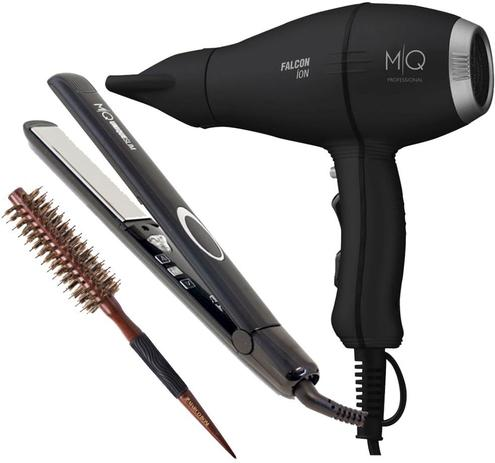 Imagem de Combo mq hair profisissional secador falcon black 220v + prancha titanium black + escova 34mm marco boni