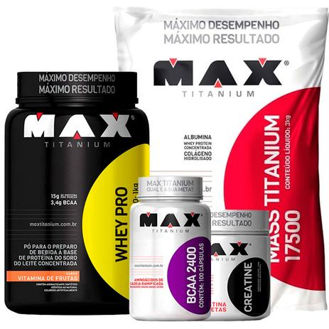 2b800fab3 Combo  Whey Pro (1kg) + Mass Titanium (3kg) + Creatina (150g) + BCAA 2400  (100 caps) - Max Titanium