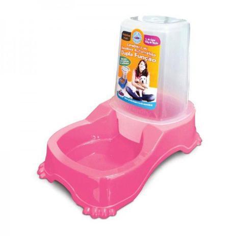 Imagem de Comedouro e bebedouro dupla função cães e gatos rosa