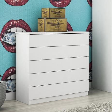 Imagem de Cômoda 5 Gavetas Premium Tcil Móveis Branco