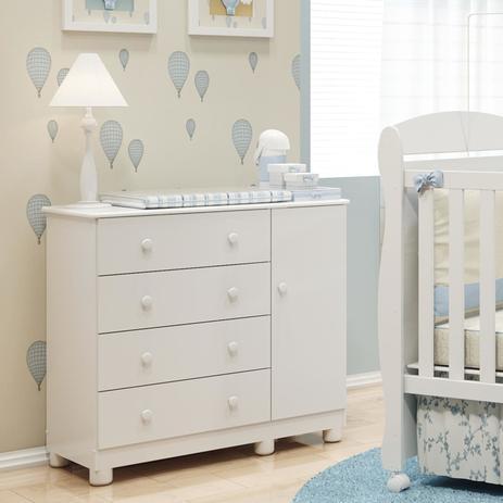 Imagem de Cômoda de Bebê 1 Porta 4 Gavetas Junior Móveis Peroba Branco Brilho