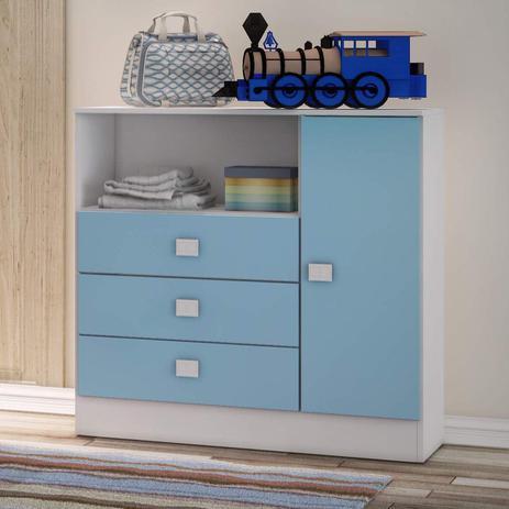 Imagem de Cômoda de Bebê 3 Gavetas 1 Porta 1360 Baby Móveis Percasa Branco/Azul