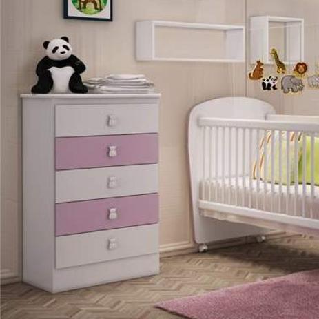 Imagem de Cômoda de Bebê 5 Gavetas Móveis Percasa Branco/Lilás