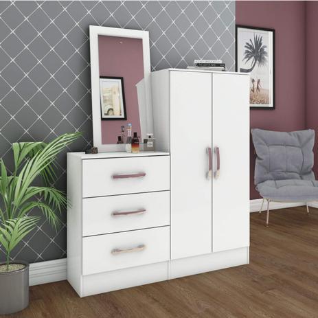 Imagem de Cômoda Sapateira com Espelho Happy Siena Móveis Branco