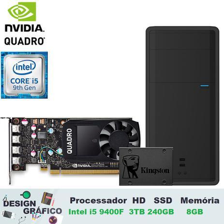 Imagem de Computador Desktop Design Engenharia Desenvolvimento 3green Intel Core i5 9ª Geração 9400F 8GB Nvidia Quadro P1000 4GB DDR5 SSD 240GB HD 3TB