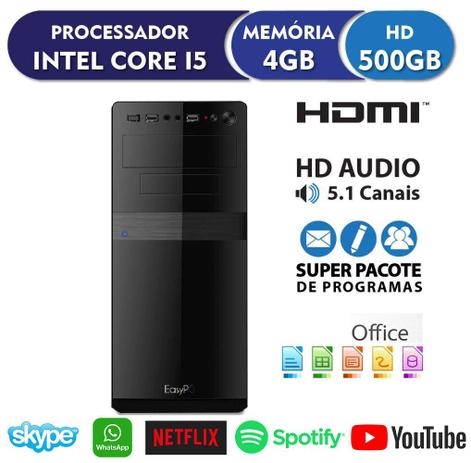 Imagem de Computador Desktop EasyPC Station Intel Core i5 4GB HD 500GB HDMI FullHD Áudio 5.1