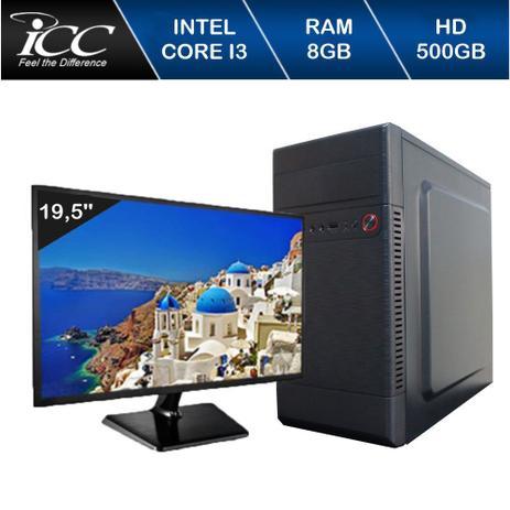 Imagem de Computador ICC IV2381DM19 Intel Core I3 3.20 ghz 8GB HD 500GB DVDRW HDMI FULL HD Monitor LED 195