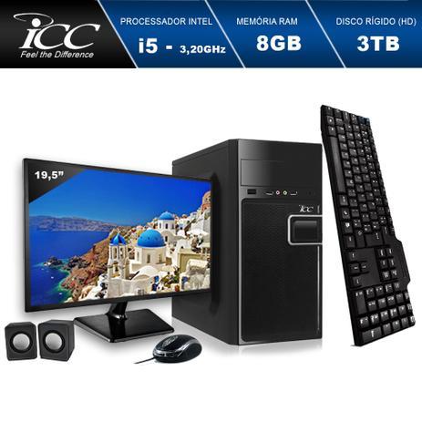 Imagem de Computador ICC IV2584KWM19 Intel Core I5 3.20 ghz 8GB HD 3TB Kit Multimídia Monitor LED 19,5
