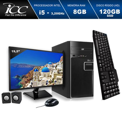 Imagem de Computador ICC IV2586CWM19 Core I5 3.20ghz 8GB HD 120GB SSD DVDRW Kit Multimídia Monitor LED 19,5