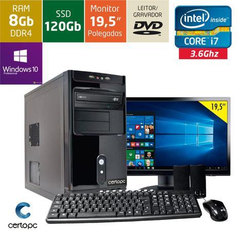 Computador + Monitor 19,5 Intel Core i7 8GB SSD 120GB DVD Windows 10 PRO  Certo PC Desempenho 936