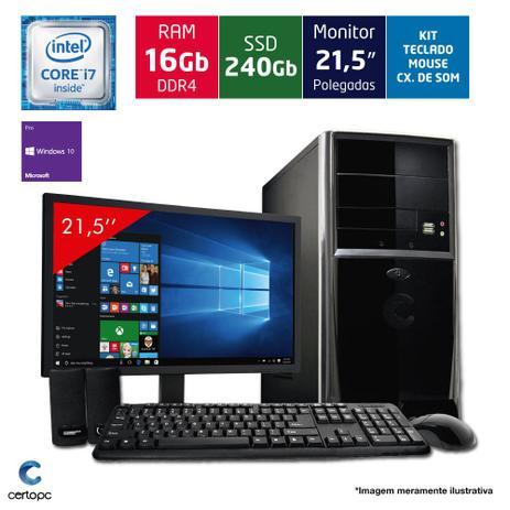 Computador + Monitor 21,5 Intel Core i7 16GB SSD 240GB Certo PC Desempenho  964