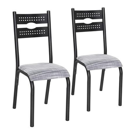 Imagem de Conjunto 2 Cadeiras Aço Luna Clássica Ciplafe Preto/Branco