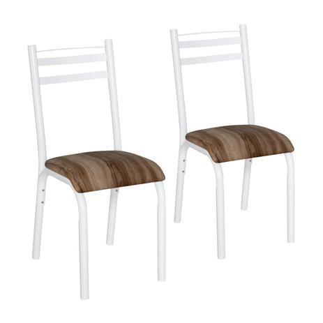 Imagem de Conjunto 2 Cadeiras Aço Plaza Clássica Ciplafe Branco/Capuccino