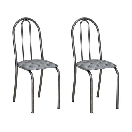 Imagem de Conjunto 2 Cadeiras Éos Cromo Preto e Estampa Capitonê