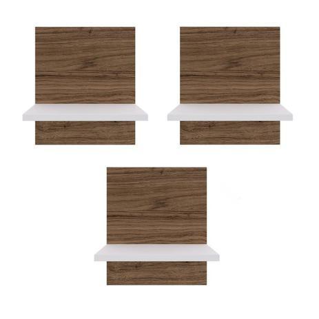 Imagem de Conjunto 3 Prateleiras Multiuso para Escritório BR127 Criando Mobilia Branco/Madeirado