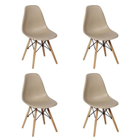 Imagem de Conjunto 4 Cadeiras Charles Eames Eiffel Wood Base Madeira - Nude