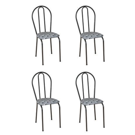 Imagem de Conjunto 4 Cadeiras Hécate Cromo Preto e Estampa Capitonê