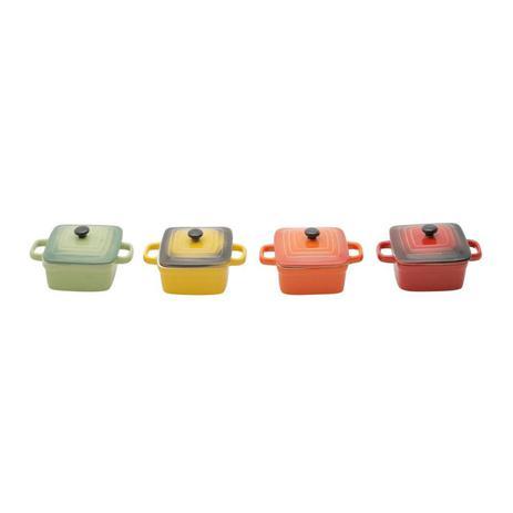 Imagem de Conjunto 4 Mini Panelas Quadradas de Porcelana Colorida com Tampa 12cmx8cm Rojemac