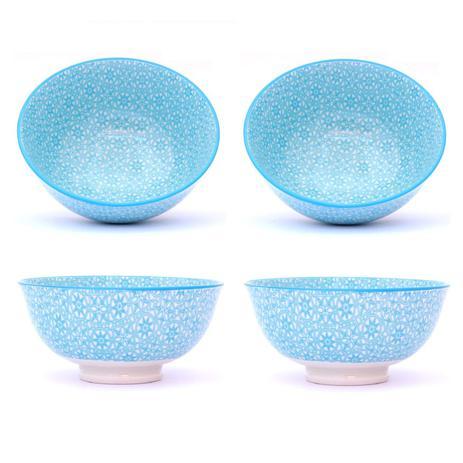 Imagem de Conjunto 4 Tigelas Bowl Cumbuca Decorado 300ml Estrela Azul Ciano