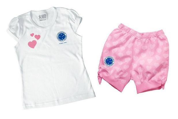 ce77c10e5f255 Conjunto Bebê Cruzeiro Rosa Oficial - Torcida Baby - Body e macacão ...