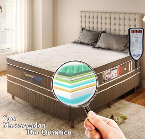 50af00efb Conjunto Box Magnético King Size Splendido Dream com massagem Quântica  (Colchão + Box) - Golddream