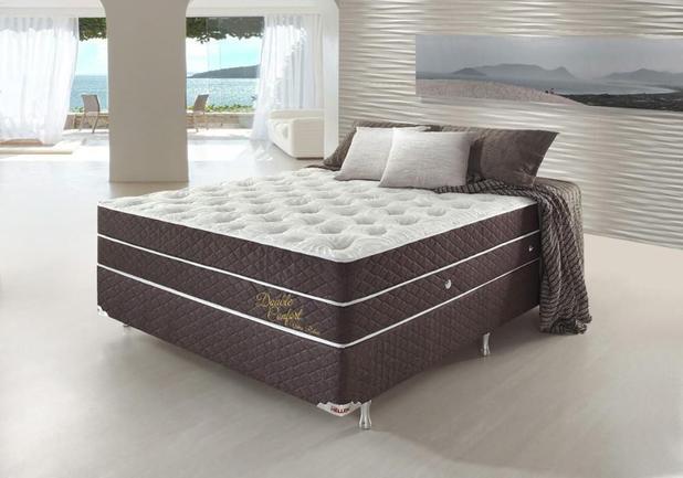 Imagem de Conjunto Cama Box Casal Double Confort Relax Com Massageador 138x188x78 Colchão + Cama Box