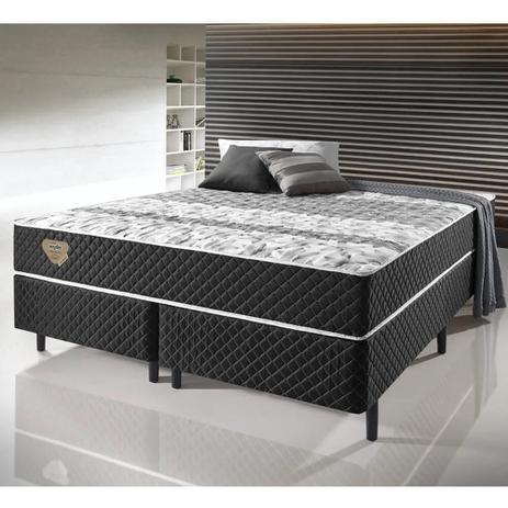 Imagem de Conjunto Cama Box King Size Soft Comfort Preto - Antiácaro, Antifungo e Antialérgico - 193x203x60cm