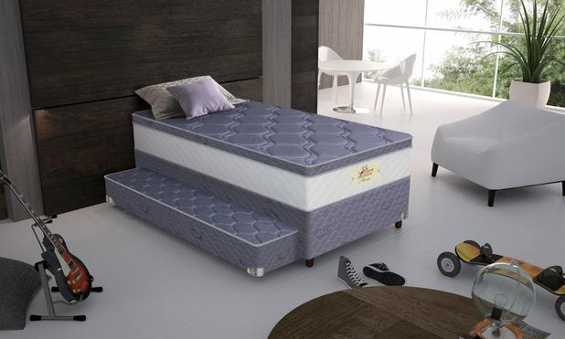 Imagem de Conjunto cama box solteiro e cama auxiliar Coleção Kids Mario BaseJacquard 1,88 Bonnel Gazin