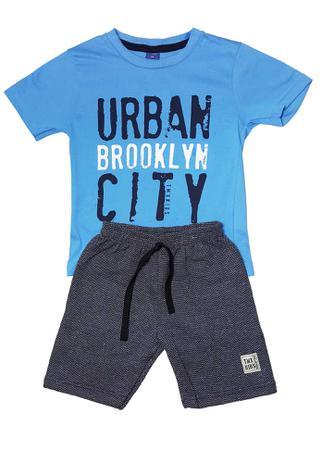 4894879530 Conjunto Camiseta e Bermuda Moletom Ecológico TMX Urban Azul Marinho ...
