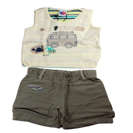 Conjunto Camiseta Regata e Bermuda Cinza - Tip Top - Conjuntinho ... 2133d7a1d38
