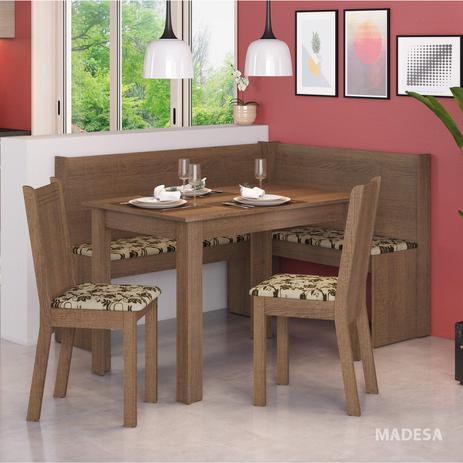 Conjunto Canto Alemão Mesa Com 2 Cadeiras Liebe Madesa Rusticbege