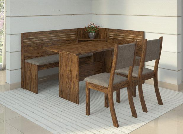 Conjunto Canto Alemão Mesa Com 2 Cadeiras Scan Siena Móveis Avelã