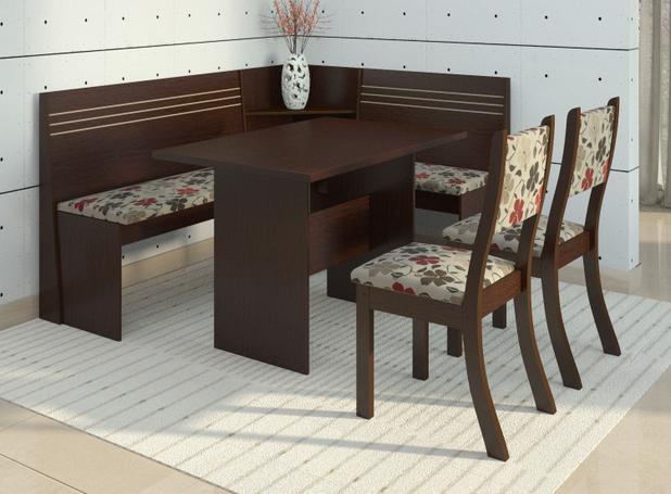 Conjunto Canto Alemão Mesa Com 2 Cadeiras Scan Siena Móveis Choco