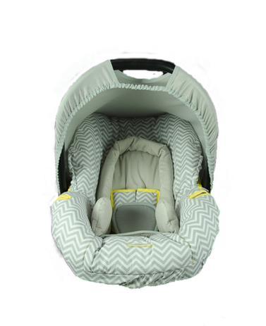 Imagem de Conjunto Capa Para Bebê Conforto Chevron Cinza/ Amarelo Com Acolchoado Extra