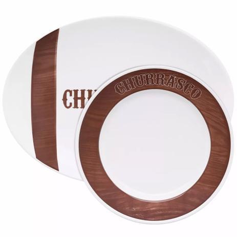 Imagem de Conjunto Churrasco Tradição 10 Peças Pratos Porcelana Oxford