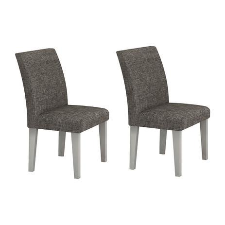 Imagem de Conjunto com 2 Cadeiras de Jantar Olímpia Linho Branco Linho Cinza