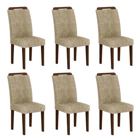 Imagem de Conjunto com 6 Cadeiras Athenas Suede Amassado Castor e Chocolate
