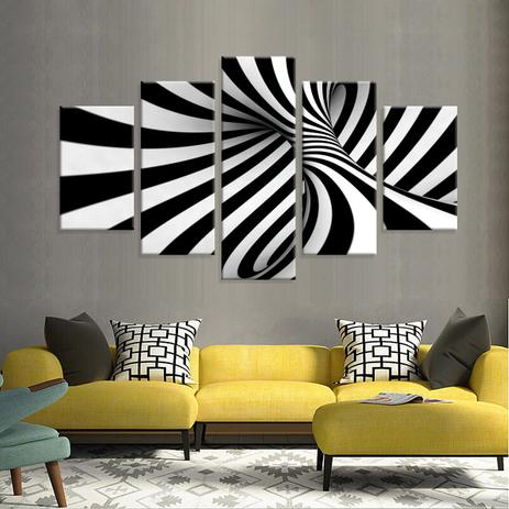d34c32a15 Conjunto de 5 Telas Decorativas em Canvas Abstrato 3D - Love decor ...