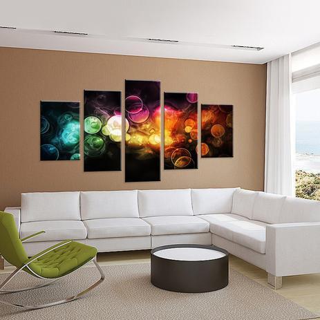 28b4e0228 Conjunto de 5 Telas Decorativas em Canvas Abstrato Bubbles - Love decor